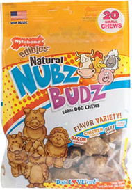 Nylabone Natural Nubz Budz Edible Dog Chews Small Flavor Variety -- 12 Dog Treats