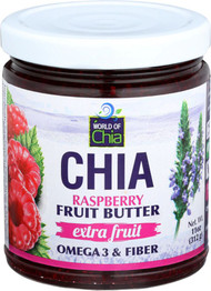 3 PACK of World of Chia Extra Fruit Chia Fruit Butter Raspberry -- 11 oz