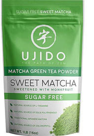 Ujido Sweet Matcha Green Tea Powder Sweetened with Monkfruit -- 16 oz