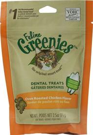 3 PACK of Greenies Feline Dental Treats Oven Roasted Chicken -- 2.5 oz
