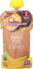 3 PACK of Happy Baby Organics Clearly Crafted Organic Baby Food Stage 2 Bananas, Plums & Granola -- 4 oz