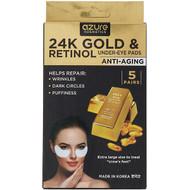 3 PACK of Azure Kosmetics, 24K Gold & Retinol, Under-Eye Pads, Anti-Aging, 5 Pairs