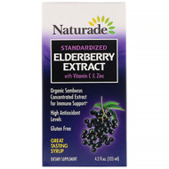 Naturade, Standardized Elderberry Extract Syrup with Vitamin C & Zinc, 4.2 fl oz (125 ml)