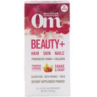Organic Mushroom Nutrition, Beauty+, Powered by Chaga + Collagen, Strawberry Lemonade, 10 Packets, 0.22 oz (6.2 g) Each