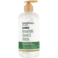 Petal Fresh, Pure, SuperFoods for Bath, Come Clean Detoxifying Shower Milk, Almond Milk, Vitamin D & Matcha, 16 fl oz (475 ml)