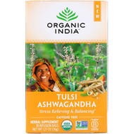 3 PACK of Organic India, Tulsi Tea, Ashwagandha, Caffeine-Free, 18 Infusion Bags, 1.27 oz (36 g)