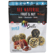 3 PACK of Natures Wild Organic, All Natural, Snacking Fruit & Nut Bites, Fit Balls, Dates + Hazelnuts + Cacao, 5.1 oz (144 g)