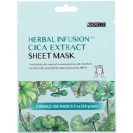3 PACK of Avarelle, Herbal Infusion, Cica Extract Sheet Mask, 1 Single Use Mask, 0.7 oz (20 g)