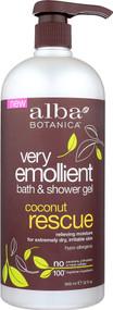 Alba Botanica Very Emollient Bath and Shower Gel Coconut Rescue -- 32 fl oz