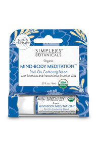 Simplers Botanicals Mind-Body Meditation Roll-On with Patchouli and Frankincense Essential Oils -- 27 fl oz