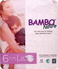Bambo Nature Baby Diapers Stage 6 - 33 to 66 lbs -- 22 Diapers