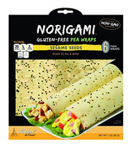 3 PACK of Norigami Michel de France Gluten-Free Pea Wraps Sesame Seeds -- 6 Thin Wraps