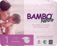 3 PACK of Bambo Nature Baby Diapers Stage 1 - 4 to 11 lbs -- 28 Diapers