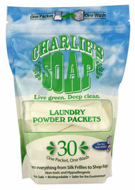 3 PACK of Charlie's Soap Laundry Powder Packets -- 30 Packets