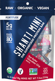 3 PACK of Shanti Bar Organic 5 G Protein MINI Bars Gluten Free Nut Butter Chocolate Chip Maca -- 12 Mini Bars