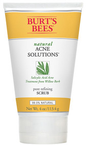3 PACK of Burts Bees Natural Acne Solutions Pore Refining Scrub Exfoliating Face Wash for Oily Skin -- 4 oz