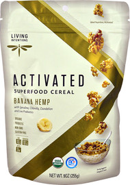3 PACK of Living Intentions Activated Super Food Cereal Banana Hemp -- 9 oz