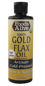 3 PACK of Foods Alive Organic Gold Flax Oil Artisan Cold-Pressed -- 8 fl oz