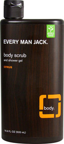 3 PACK of Every Man Jack Body Scrub and Shower Gel Citrus -- 16.9 fl oz