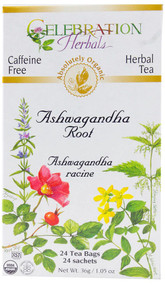 3 PACK of Celebration Herbals Organic Tea Ashwagandha Root -- 24 Tea Bags