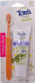 3 PACK of Tom's of Maine Soft Toothbrush and Training Toothpaste for Toddlers Mild Fruit -- 1.75 oz