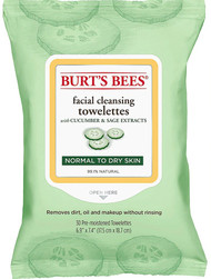 3 PACK of Burt's Bees Facial Cleansing Towelettes for Normal to Dry Skin Cucumber and Sage -- 30 Towelettes
