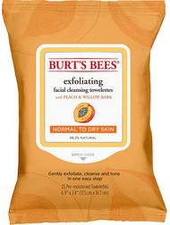 3 PACK of Burt's Bees Facial Cleansing Towelettes for Normal to Dry Skin Peach and Willow Bark -- 25 Towelettes