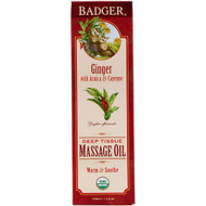 Badger Company, Organic, Deep Tissue Massage Oil, Ginger with Arnica  & Cayenne, 4 fl oz (118 ml)