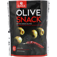 3 PACK of Gaea, Olive Snack, Pitted Green Olives, Marinated With Chili & Black Pepper, 2.3 oz (65 g)