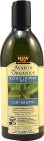 Avalon Organics, Bath & Shower Gel, Revitalizing Peppermint, 12 fl oz (355 ml)