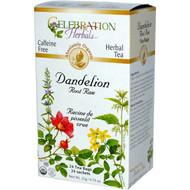 3 PACK of Celebration Herbals Organic Dandelion Root Raw Tea Caffeine Free -- 24 Herbal Tea Bags