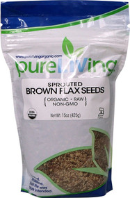3 PACK of Pure Living Organic Flax Seeds Sprouted Brown -- 15 oz