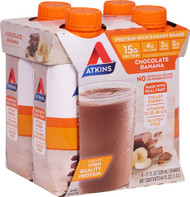3 PACK of Atkins RTD Energy Shake 4 Pack Chocolate Banana -- 4 Bottles