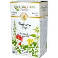 3 PACK of Celebration Herbals Organic Herbal Tea Caffeine Free Bilberry Leaf -- 24 Herbal Tea Bags