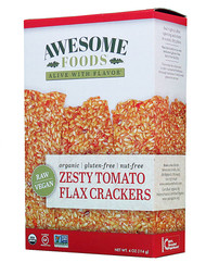 3 PACK of Awesome Foods Flax Crackers Gluten Free Zesty Tomato -- 4 oz