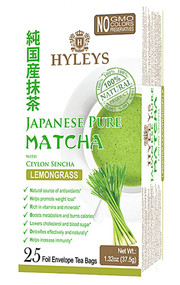 3 PACK of Hyleys Japanese Pure Matcha Tea with Ceylon Sencha Lemongrass -- 25 Tea Bags