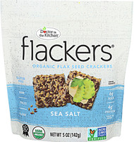 3 PACK of Doc In The Kitchen Flackers Organic Flax Seed Crackers Sea Salt -- 5 oz