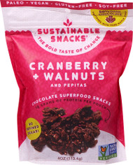 3 PACK of Sustainable Snacks Chocolate Superfood Snacks Cranberry Walnuts and Pepitas -- 4 oz