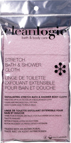3 PACK of Cleanlogic Exfoliating Stretch Bath & Shower Body Cloth Various Colors -- 1 Cloth
