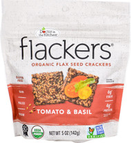3 PACK of Doc In The Kitchen Flackers Organic Flax Seed Crackers Tomato & Basil -- 5 oz