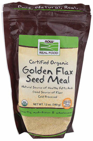 3 PACK of NOW Real Food Certified Organic Golden Flax Seed Meal -- 12 oz