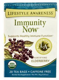 3 PACK of Lifestyle Awareness Immunity Now Organic Tea Elderberry -- 20 Tea Bags