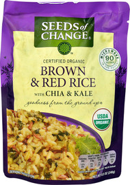 3 PACK of Seeds of Change Organic Brown & Red Rice with Chia & Kale MICROWAVE POUCH -- 8.5 oz
