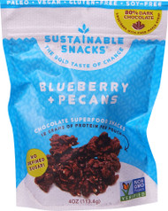 3 PACK of Sustainable Snacks Chocolate Superfood Snacks Blueberry and Pecans -- 4 oz
