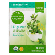 3 PACK of Simple Truth Organic Digestive Herbal Tea Supplement Peppermint, Fennel & Ginger -- 16 Tea Bags
