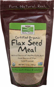 3 PACK of Now Foods, Real Food, Certified Organic, Flax Seed Meal, 12 oz (340 g)