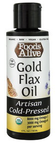 3 PACK of Foods Alive Organic Artisan Cold Pressed Oil Gold Flax -- 4 fl oz