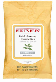 3 PACK of Burts Bees Facial Cleansing Towelettes for Normal Skin with White Tea Extract -- 10 Towelettes