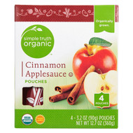 3 PACK of Simple Truth Organic Cinnamon Applesauce -- 4 Pouches