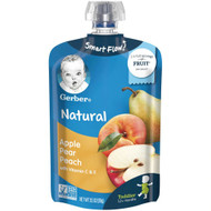 3 PACK OF Gerber Organic Toddler Baby Food Pouch Apple Pear Peach -- 3.5 oz